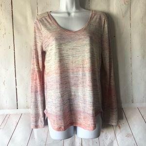 LOFT Long sleeve pink & cream shirt 👚